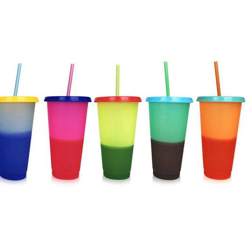 Changement de couleur Coupe température en plastique Changer la couleur couleur coloré eau froide Changement Tasse bouteilles d'eau en plastique avec Straws LJJK2188-1