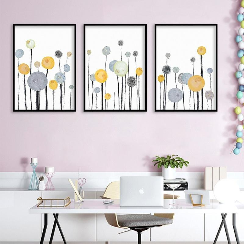 Nordic planta fresca pintura da lona da flor impressão Abstract Dandelion Geometric Wall Art Pictures para sala de estar Home Decor Mural
