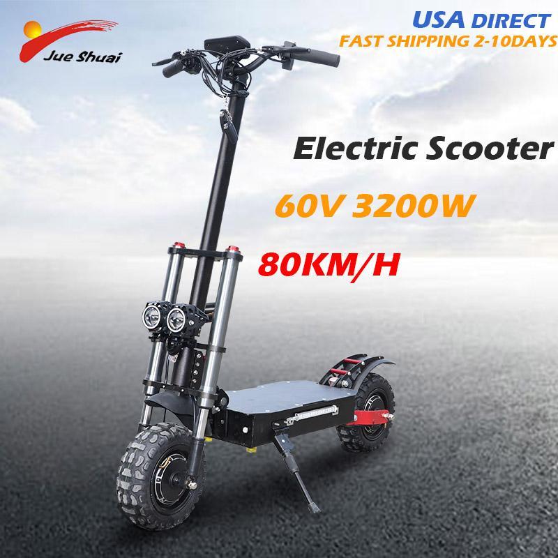 Koltuk 110km Uzun Mesafe Motosiklet Ücretsiz Kargo e scooter ile Duty Free 60V Yüksek Hızlı 80km / saat 3200W Katlanabilir Elektrikli Scooter
