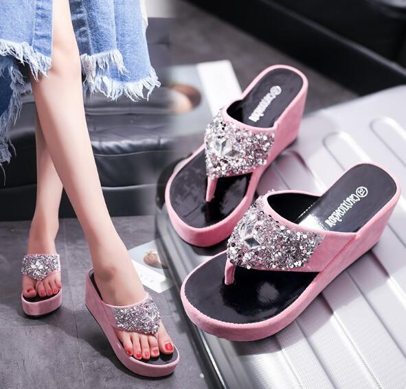 Muffin chinelos fundo grosso sandálias 2019 novo verão moda chinelos strass sandálias de cunha flip-flop