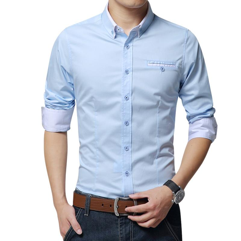 Men's Casual Shirts 2021 Men Long Sleeve Shirt Slim Fit Mens Soft Dress Male Clothes Social Wedding Solid Tuxedo Bussiness Man