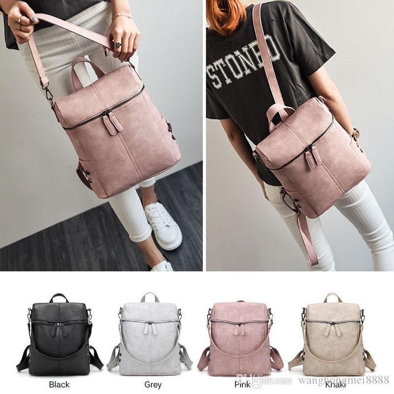 نساء الموضة حقيبة ظهر Pu جلد حقيبة المدرسة السفر حقيبة حقيبة حقيبة مرسال Satchel Crossbody حقيبة عالية الجودة