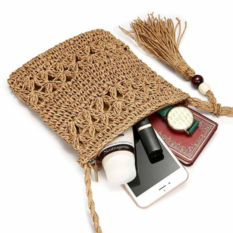 Osmond Yaz Straw Çanta El Yapımı Püskül Small Beach Çantalar Rattan Dokuma Çanta Tatil Omuz Crossbody Mini Telefon Çanta