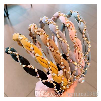 Kadınlar Kızlar Gazlı bez Saçbağı Aksesuar Moda Renkli Elmas taklidi Saç Hoop Kafa Hairband