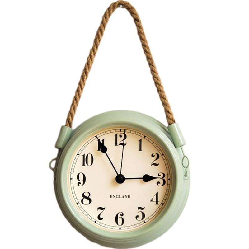 Nórdica moderna minimalista reloj de pared de la sala de estar pastoral del hierro metal que cuelga relojes de cuarzo creativo Mute reloj con cuerda-Gre
