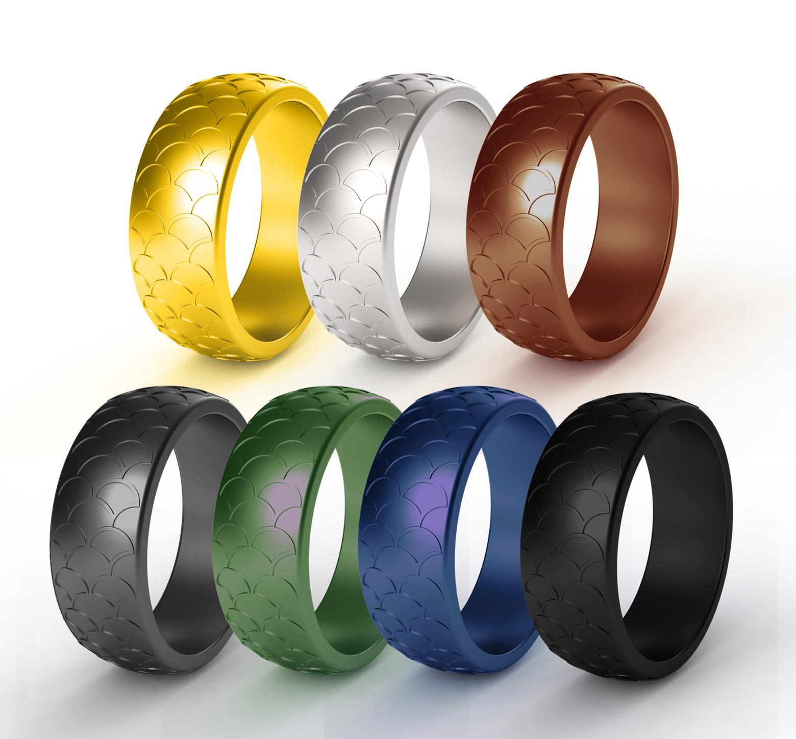 Silicone Wedding Ring for Men Metallic,Black and Camo Colors,Breathable Mens Rubber Wedding Bands