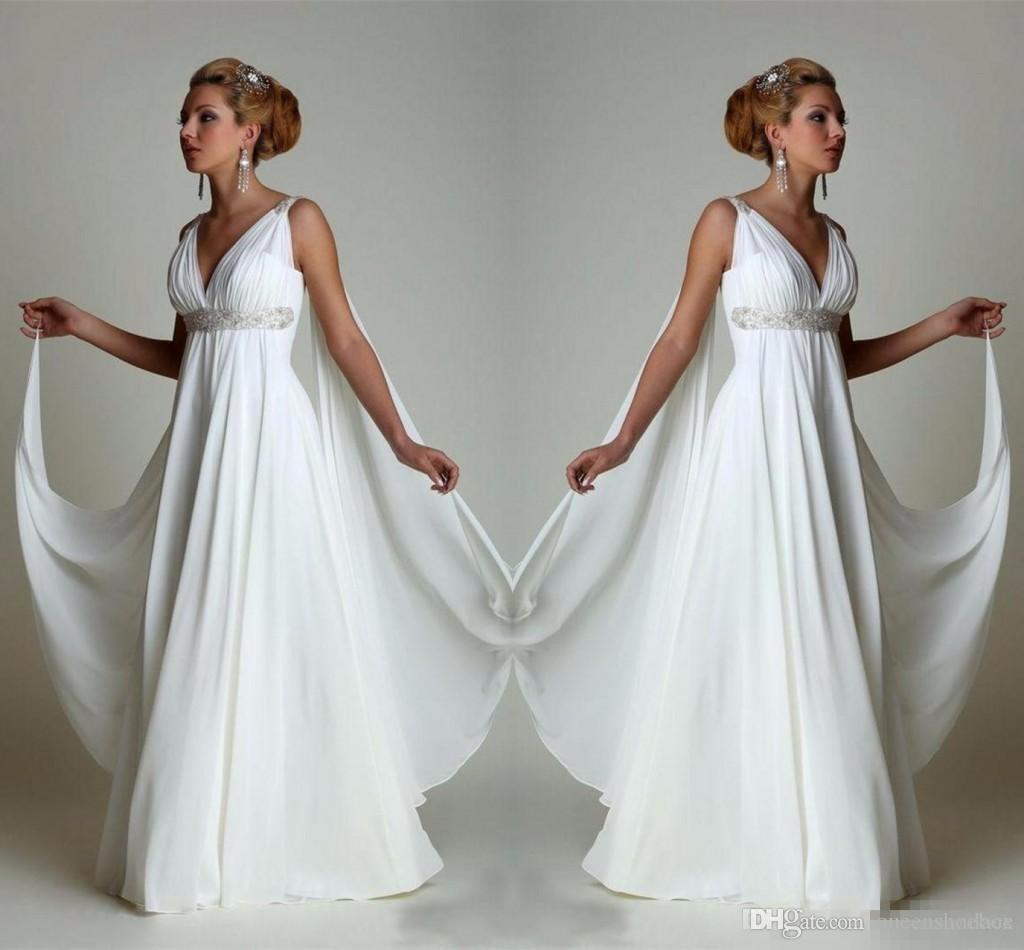 Discount Simple Chiffon Empire Waist Beach Wedding Dresses Greek Modern V  Neck Plus Size Bridal Gown Cheap Vestido Wedding Gowns Lace Bridal Gowns ...