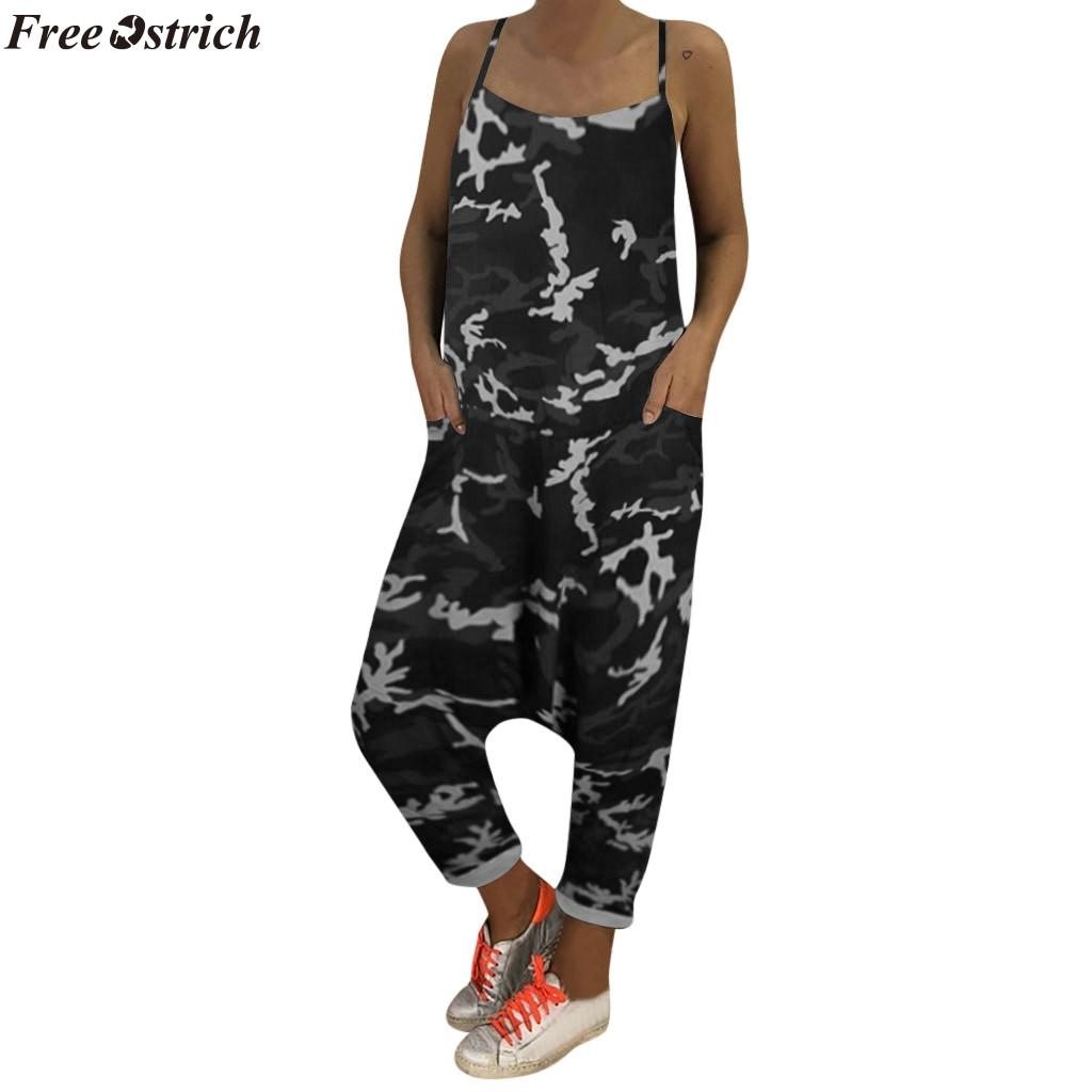 FREE OSTRICH women's fashion camouflage Long Jumpsuits ladies beach casual loose lace up harem pants summer Rompers Plus Size