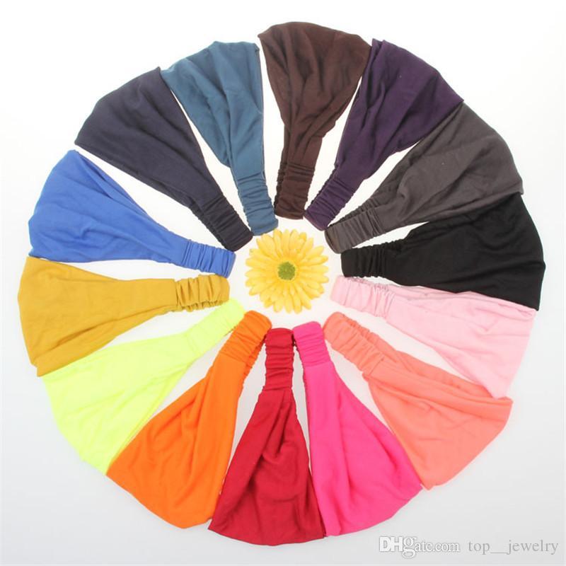 Şeker renk kafa bandı elastik yoga run spor bantlar kadınlar için saç wrap saç manşetleri hediye saç aksesuarları