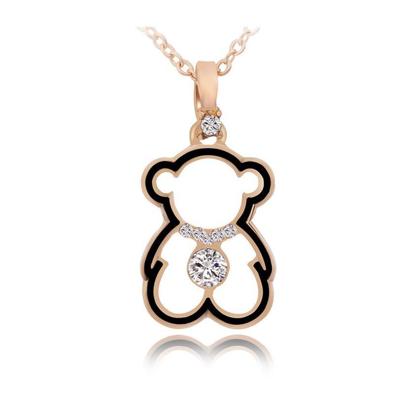 العصرية لطيف الدب القلائد قلادة مصمم مجوهرات للمرأة الذهب مكعب زركونيا قلادة الأزياء قلادة طويلة أنثى هدايا