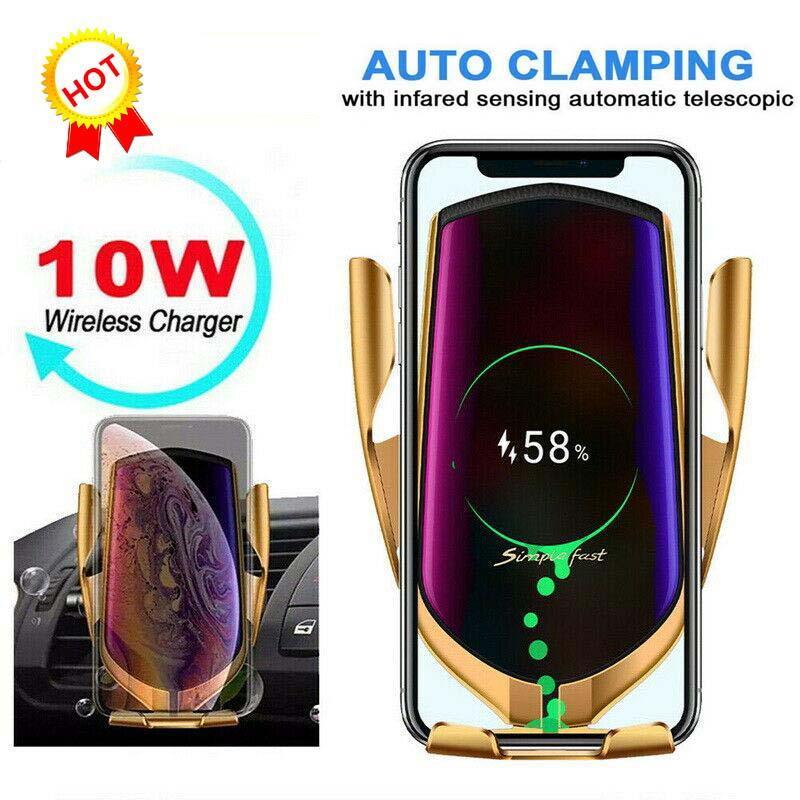 1 PCS Ци автомобиля держатель телефона 10Вт Быстрая зарядка Беспроводное зарядное устройство 360 Rotation инфракрасный датчик автоматической зажимая GPS Cellphone кронштейн R1