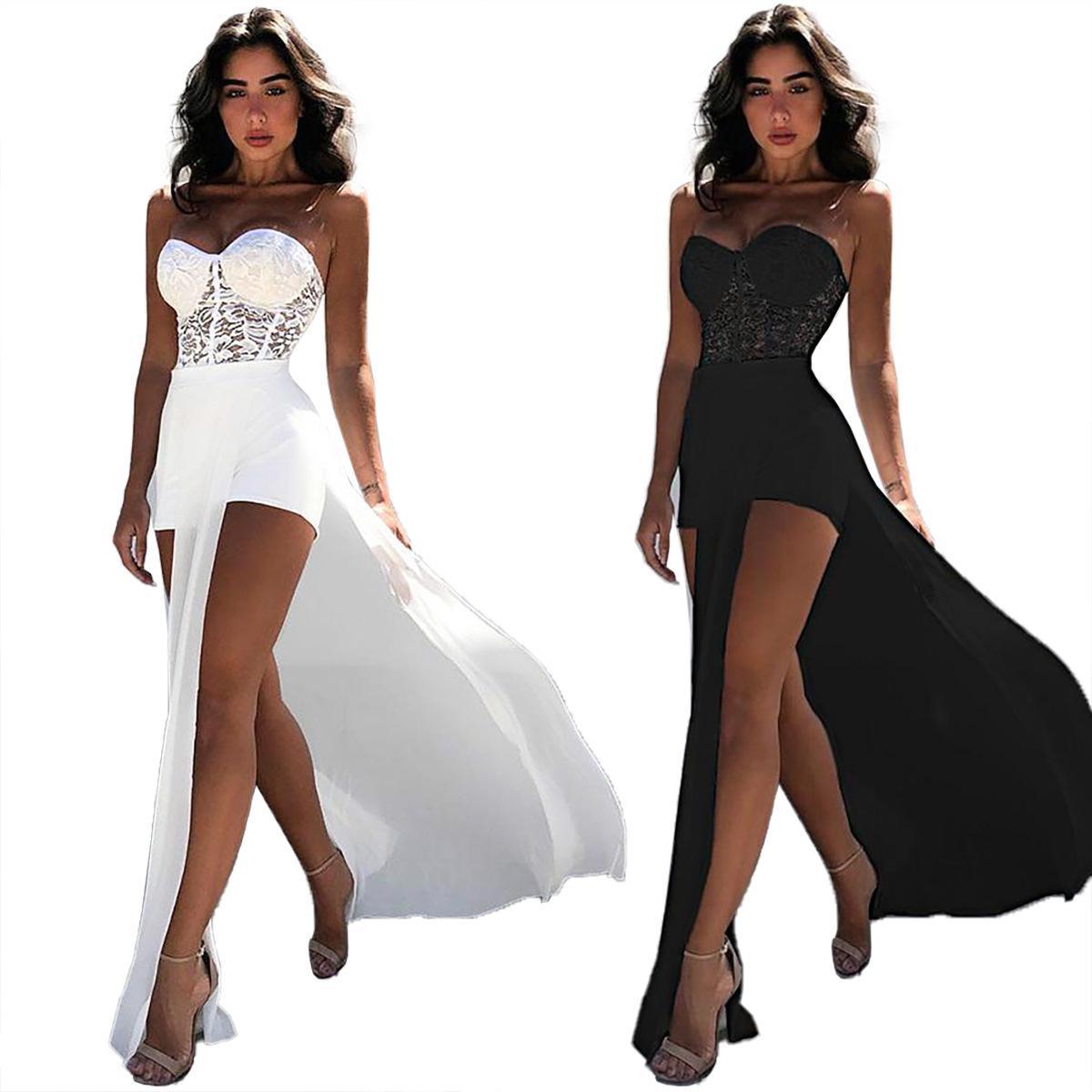 Las mujeres del verano del mameluco atractivo elegante del hombro de una pieza de las mujeres del cordón perspectiva Sólido Negro Blanco corto ocasional del mono T200521