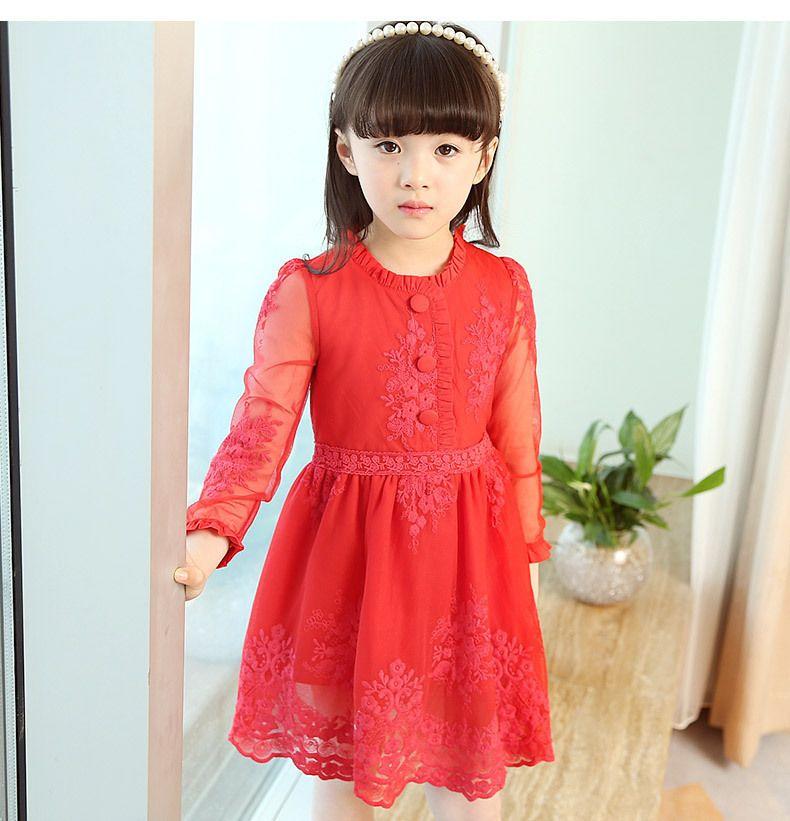 2018 Spring Girl Beautiful Princess Lace Dress Bambini Cotton Red Girls Dress Red Party Wedding Ricamo 2-14y Vestiti per bambini J190506