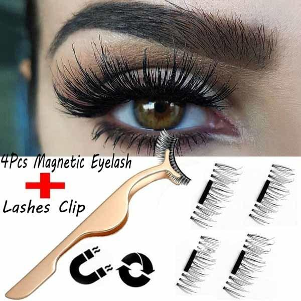 4pcs Magnetic False Eyelashes 3d Black Triple Magnetic Thick Ultra Soft And For Entire Eyes Glamorous Natural Look