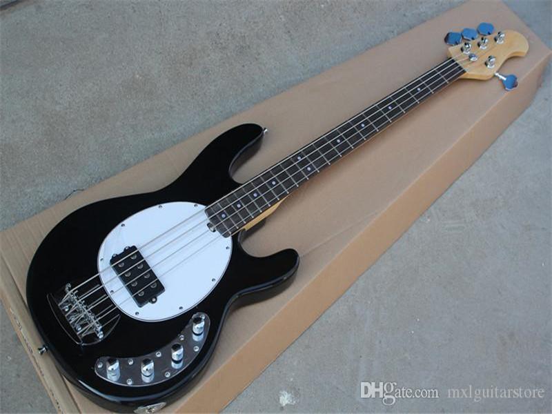 1 Pickup Siyah 4 Strings Elektrik Bas, Krom Donanımları, Beyaz Pickguard, Gülağacı Klavye, özelleştirilebilir