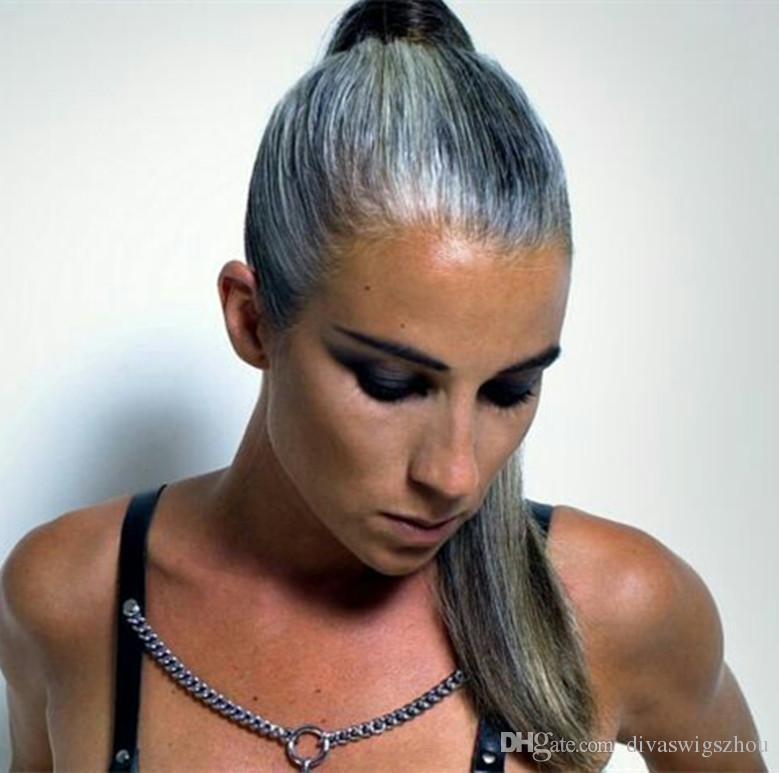 Седые волосы шелковистые прямые обернуть вокруг хвост хвостик серебристо-серый настоящие волосы конский хвост для чернокожих женщин мягкие и натуральные 1 шт. Быстрый корабль