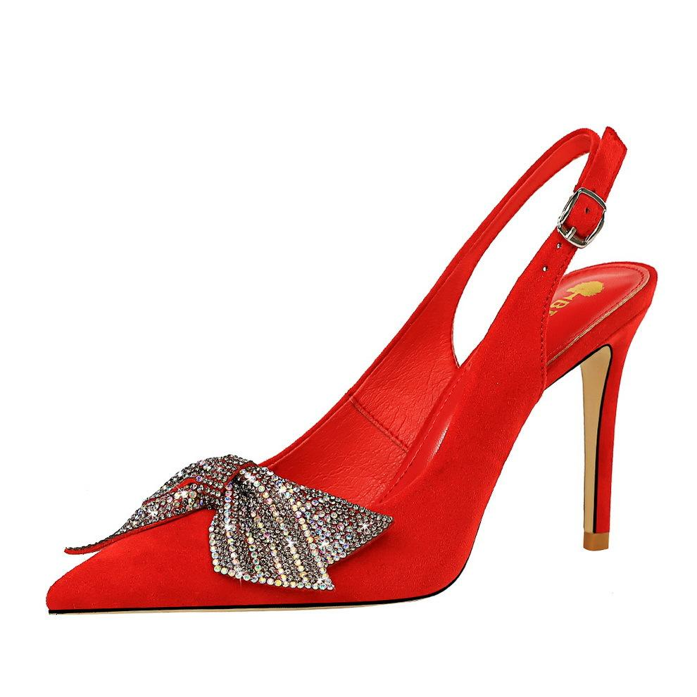 New 9.5cm high-heeled women banquet pumps party slingback pointed toe sexy lady dress shoes red black with bow size 35-43