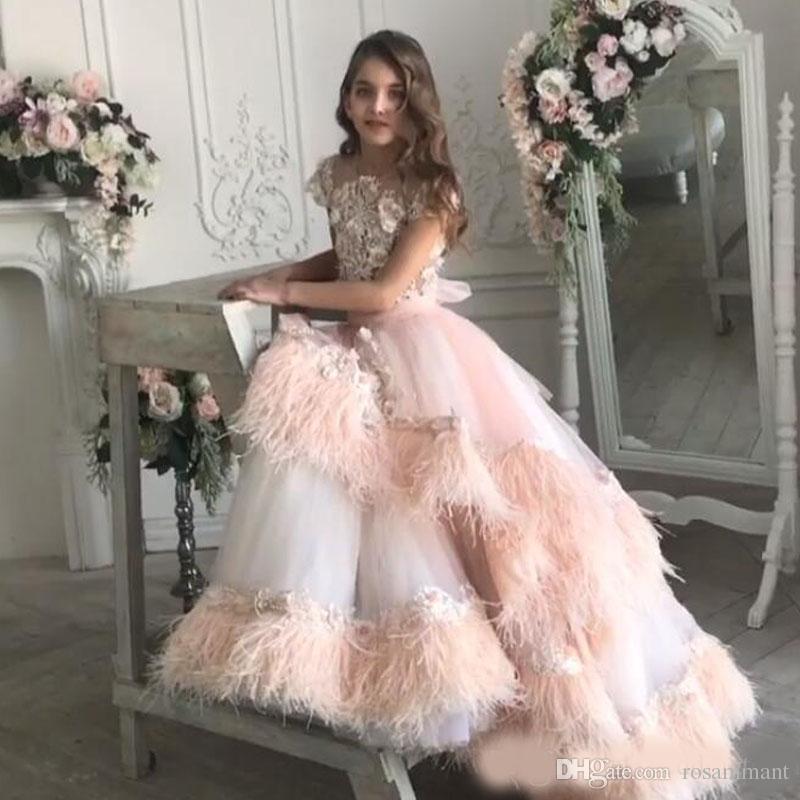 Lujo Feather Lace Toddler Girls Pageant Vestidos Apliques Joyas Cuello con cuentas Vestido de fiesta con gradas Vestido de niña de flores Tren de barrido Niños Vestidos de baile