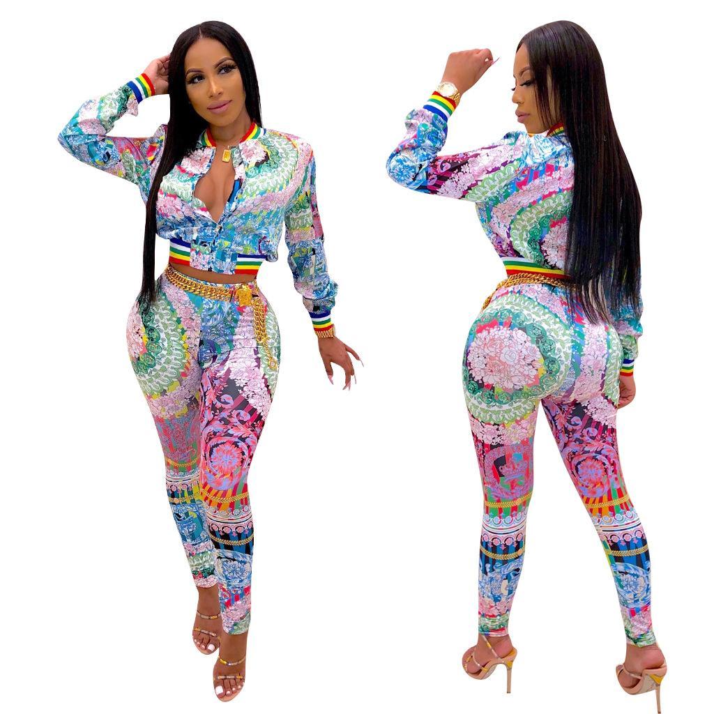 Sonbahar Kadın Iki Parçalı Kıyafetler Çiçek Baskı 2 Parça Pantolon Set Çok Fermuar Uzun Kollu Ceket Ince Uzun Pantolon Rahat Giysiler S-2XL Suits