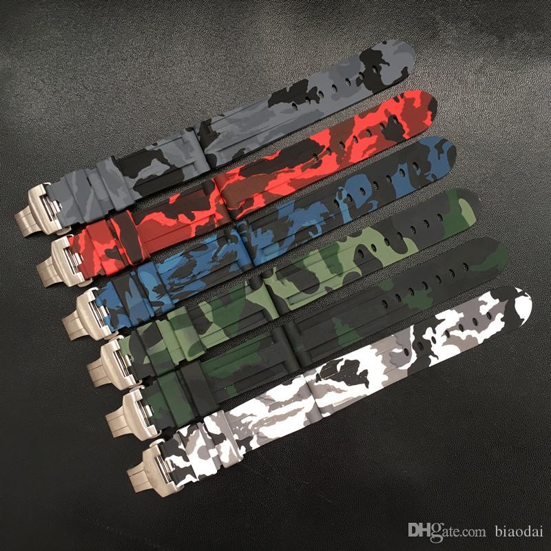 Azul Vermelho MERJUST 24 milímetros Camo Cinza Verde Branco Silicone Rubber Watchband Para Panerai Strap PAM 44 milímetros fivela Caso borboleta Pulseira
