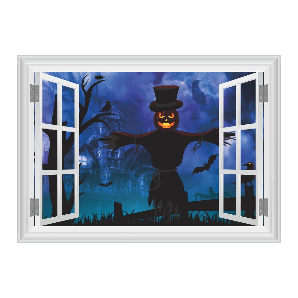 Хэллоуин Стены Стикеры Home Decor Стены Пугало Детская Комната Спальня Украшения Ложные Окна Плакат Росписи Обои Наклейки На Стены