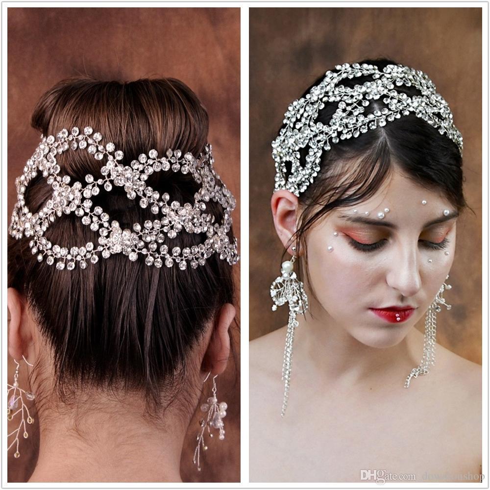 Big New Luxury Crystals Kopfbedeckungen für Bräute zeigen Haar Make-up Kopfbedeckungen Crown Tiaras für Performances Fascinator Partei Tiara Stirnbänder