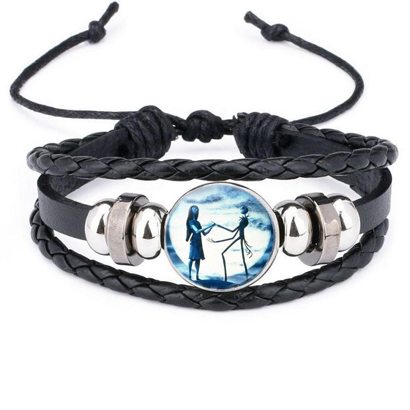 The Nightmare Before Christmas Bracelet Bangle With Glass Cabochon Leather Charm Wrap Beaded Multilayer Bracelet For Unisex