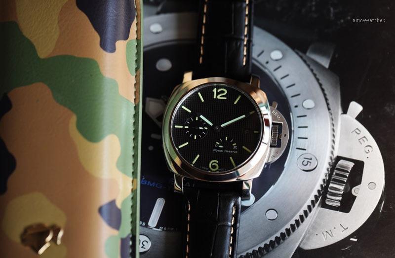Uhren Automatikwerk 47mm * 16mm Lederarmband mechanische Uhr für Männer Art und Weise Gift1
