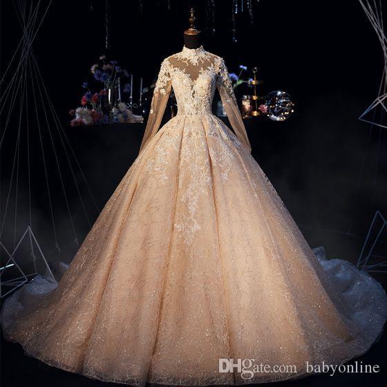 Image réelle robe de bal de mariage robes vintage col haut Sheer manches longues 3D Perles de luxe Appliques Robes de mariée Corset Retour CPH015