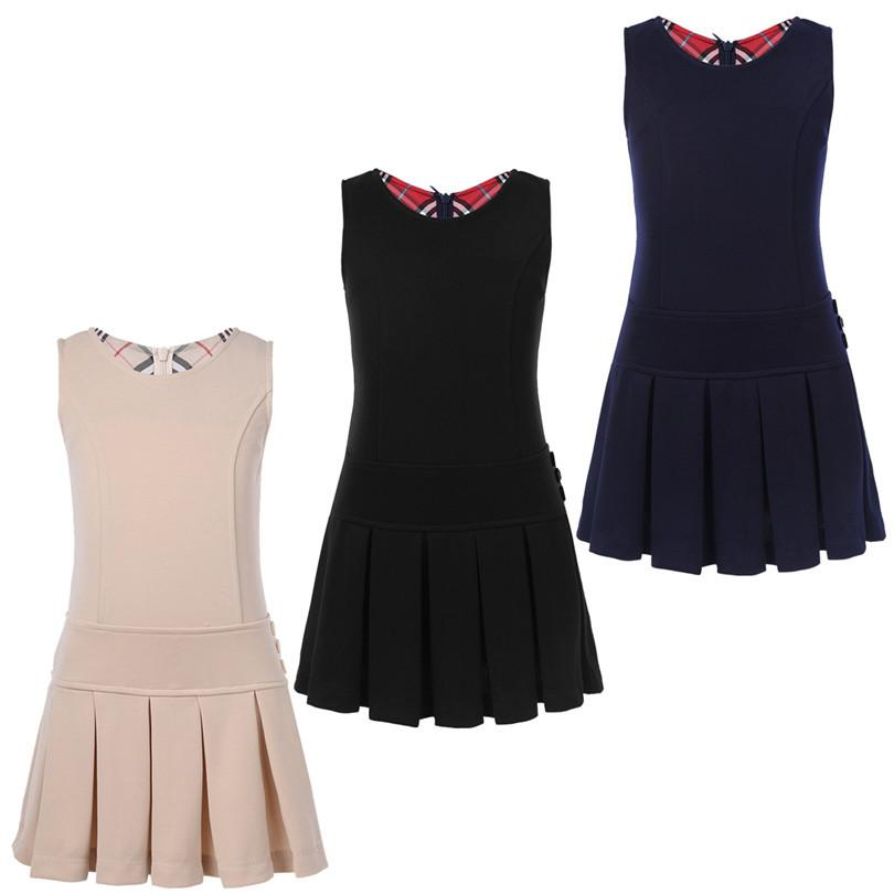2 9 Anos Sem Mangas A Line Girls Autumn Daily Baby Girl Pleated Hem Dress Jumper for Birthday Party School Casual Wear Y200317