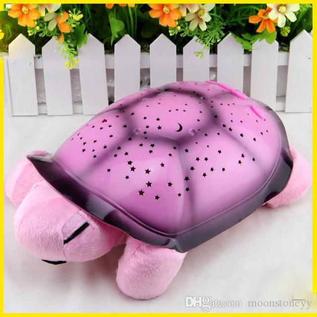 New Creative Turtle LED Night Light Luminous Plush Toys Music Star Lamp Projector Toys for Baby Sleep 4 Colors