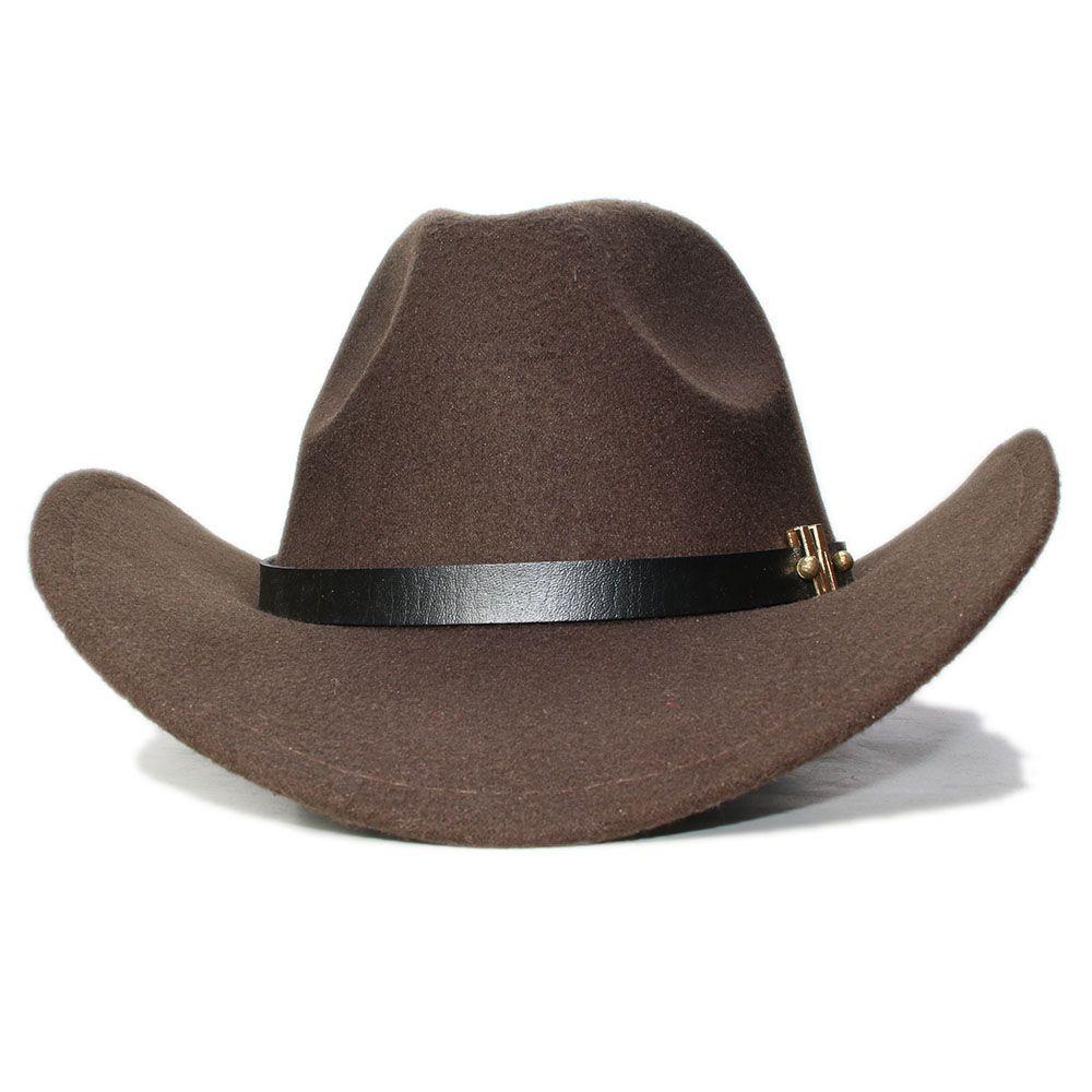 Lana LUCKYLIANJI Vintage Kid Bambino Tesa larga Cowboy occidentale Cowgirl Bowler Hat Fedora Cap M Lettera cinturino in pelle (54 centimetri / Regolazione)