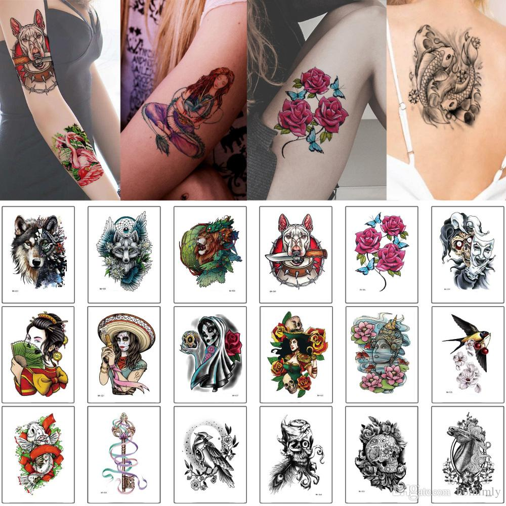 14.5x20.5cm WA Temporary Tattoo Body Makeup Sticker Wolf Lion Fox Beauty Women Flower Skull Design Fake Sexy Fashion Waterproof Tattoo Party