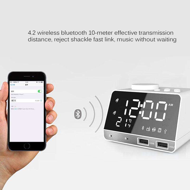 LED digital de doble alarma del reloj de espejo del bluetooth del altavoz de graves de radio FM USB cargador 2 Puertos reproductor de música de repetición de temperatura