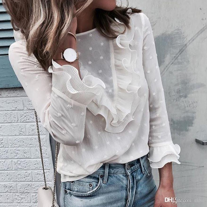 Kadınlar Bayanlar Bluzlar Ve Casual Ruffles Dantel Polka Dot O Boyun Gömlek Uzun Kollu Bluz 2018 WGNVTX13