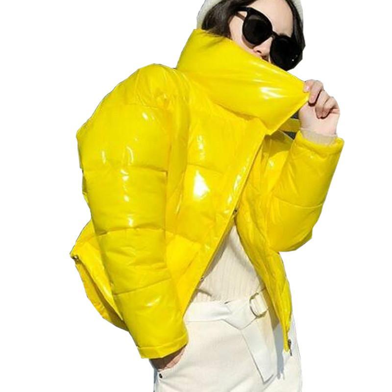 2019 brillante chaqueta de invierno de Down algodón acolchado grueso para las mujeres Negro Brillante Brillante corto de la chaqueta amarilla roja de algodón Parkas