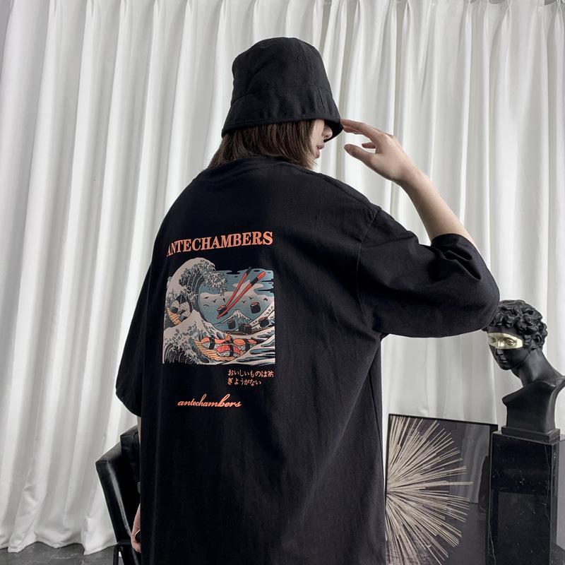 Hombre forma de Corea del gato impresión Camisetas 2020 de verano de dibujos animados japoneses para hombre Streetwear gráfico t-shirts Vintage tops de las camisetas