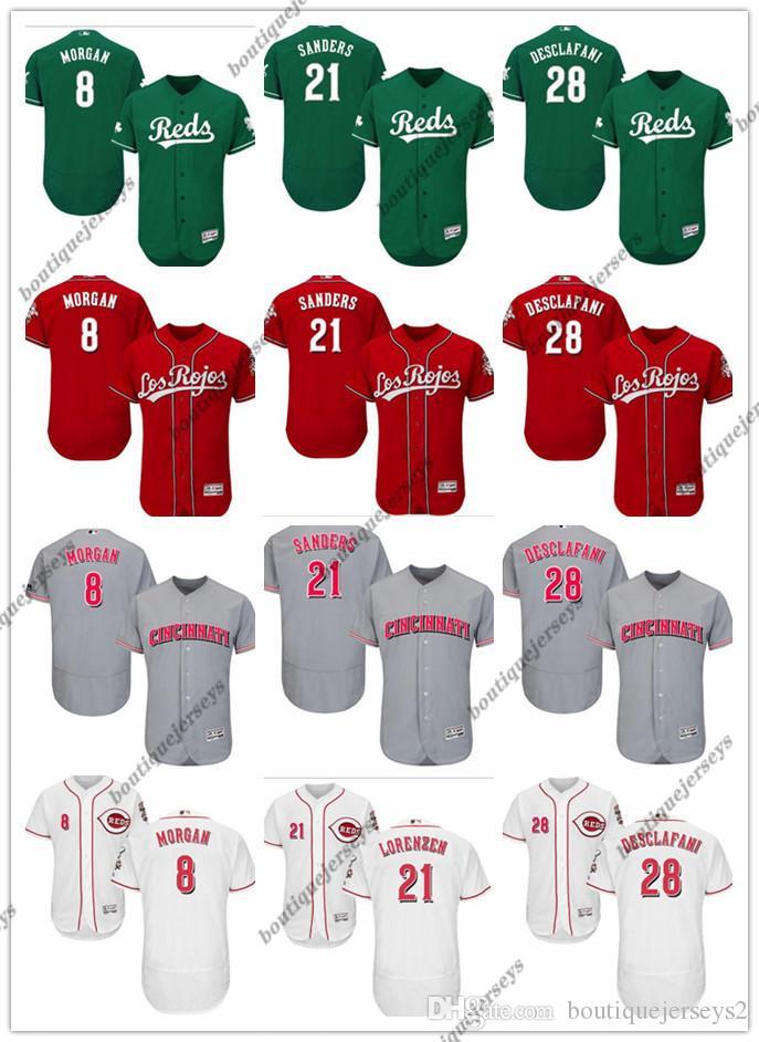 coutume femmes hommes jeunes CincinnatiReds Jersey # 21 Reggie Sanders 21 Michael Lorenzen 28 Anthony Desclafani 8 Joe Morgan Baseball Jersey