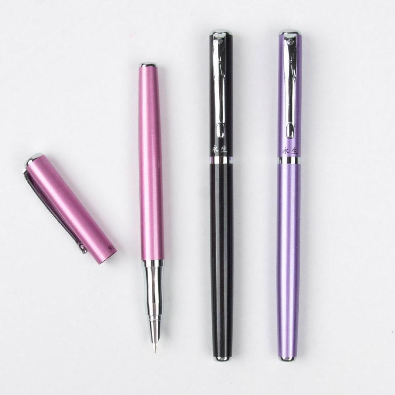 Wingsung noir / rose / violet métal papeterie de bureau classique Fountain Pen 0.38 nib encre Stylos pour cadeau d'affaires