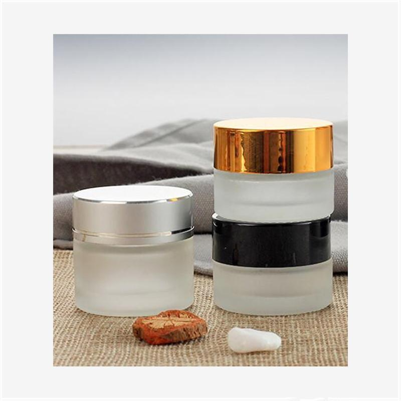 5g/5ml 10g/10ml Upscale Cosmetic Storage Container Jar Face Cream Lip Balm Frosted Glass Bottle Pot with Lid and Inner Pad Epacket Free