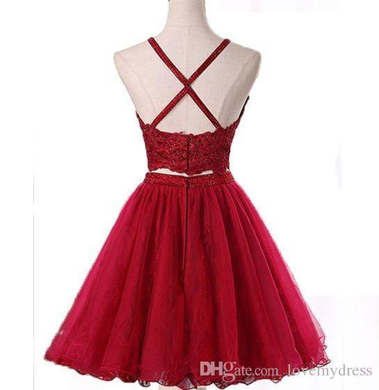 Compre Vino Rojo 2019 Vestidos De Fiesta Cortos Vestido De Regreso A Casa Sin Tirantes De Encaje Sin Espalda único Con Cuentas De Cristal Corte