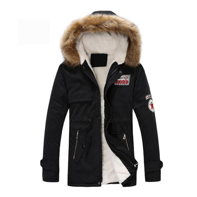 Giacca Parka uomini cappotti invernali da uomo Slim addensare con cappuccio in pelliccia Outwear caldo Top Coat marchio di abbigliamento casual cappotto Mens Veste Homme Tops T200103