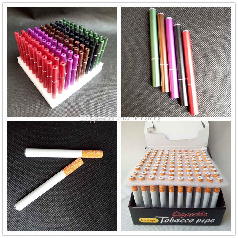 100 pcs / lot 78mm55mm Forme de la cigarette Pipes Mini Pipes Tabacs main tubes en aluminium Snuff en céramique Bat Accessoires 4 Styles