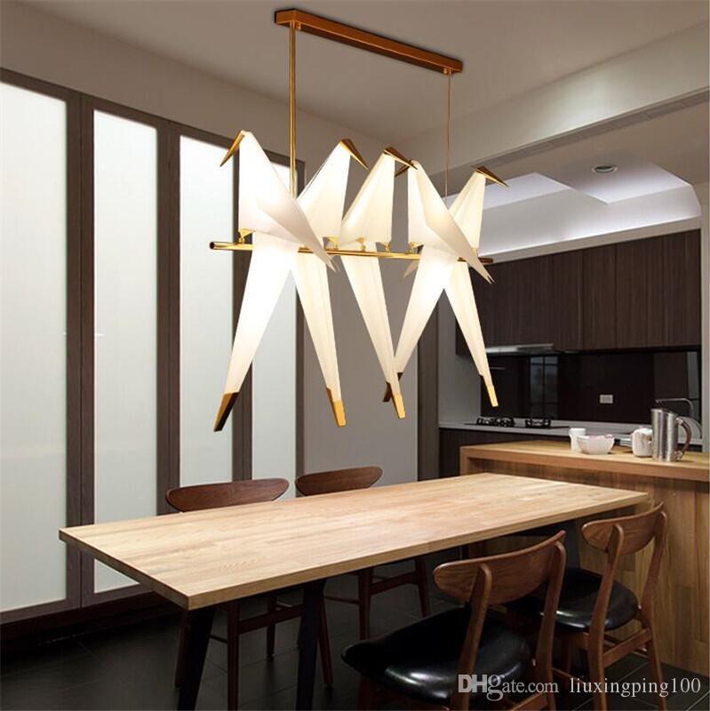 Modern Guindaste de Origami Pássaro Pendant Light Nordic Estilo Design Criativo Lamp Personalidade de suspensão Hotel Salão Parlor Quarto Bar