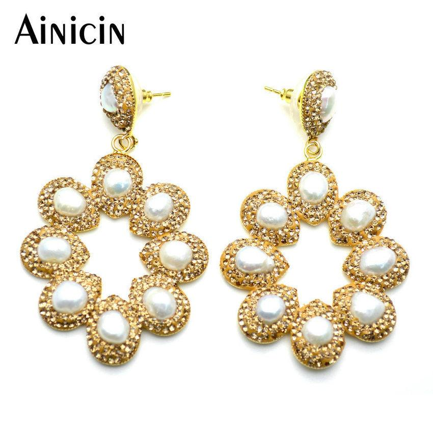 Hollow Out Sunflower Shape Stud Earrings Natural Freshwater Pearls Champagne Rhinestone Crystal Paved Fashion Women Jewelry T7190617