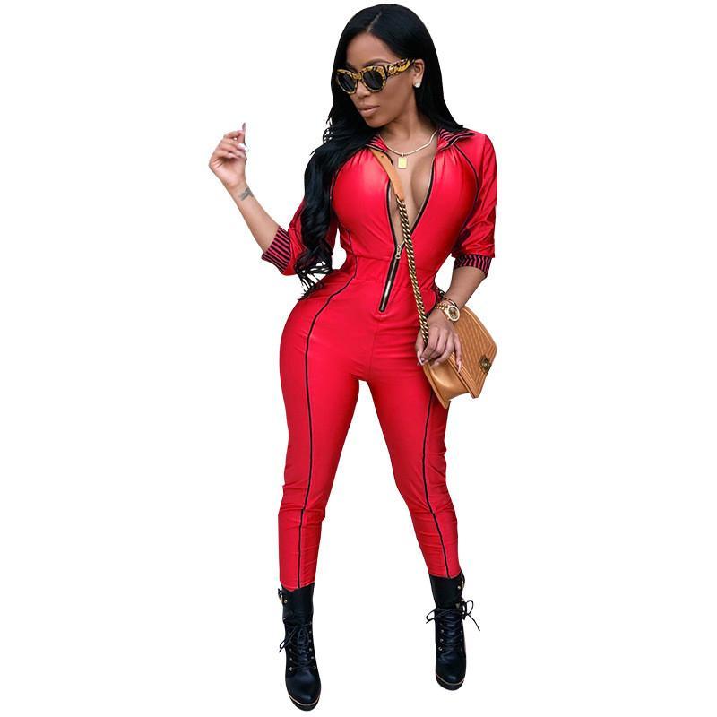 Casual Rompers Womens Jumpsuit Eté Full Body Bodysuits Patchwork Zipper Skinny Noir Bodycon Jumpsuit Salopette pour les femmes