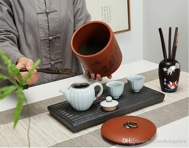 Haisha pottery tea jar ceramic general large red green tea pu 'er cake seal jar storage