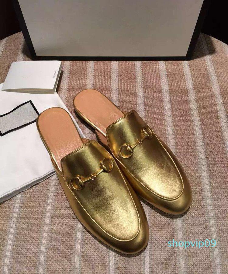 Echtes Leder-Marken-Frauen Hausschuhe Gold Schwarz Ketten Abdeckung Zehe Damen Loafers Schuhe Fashion Marke Top-Qualität Hot Selling e8