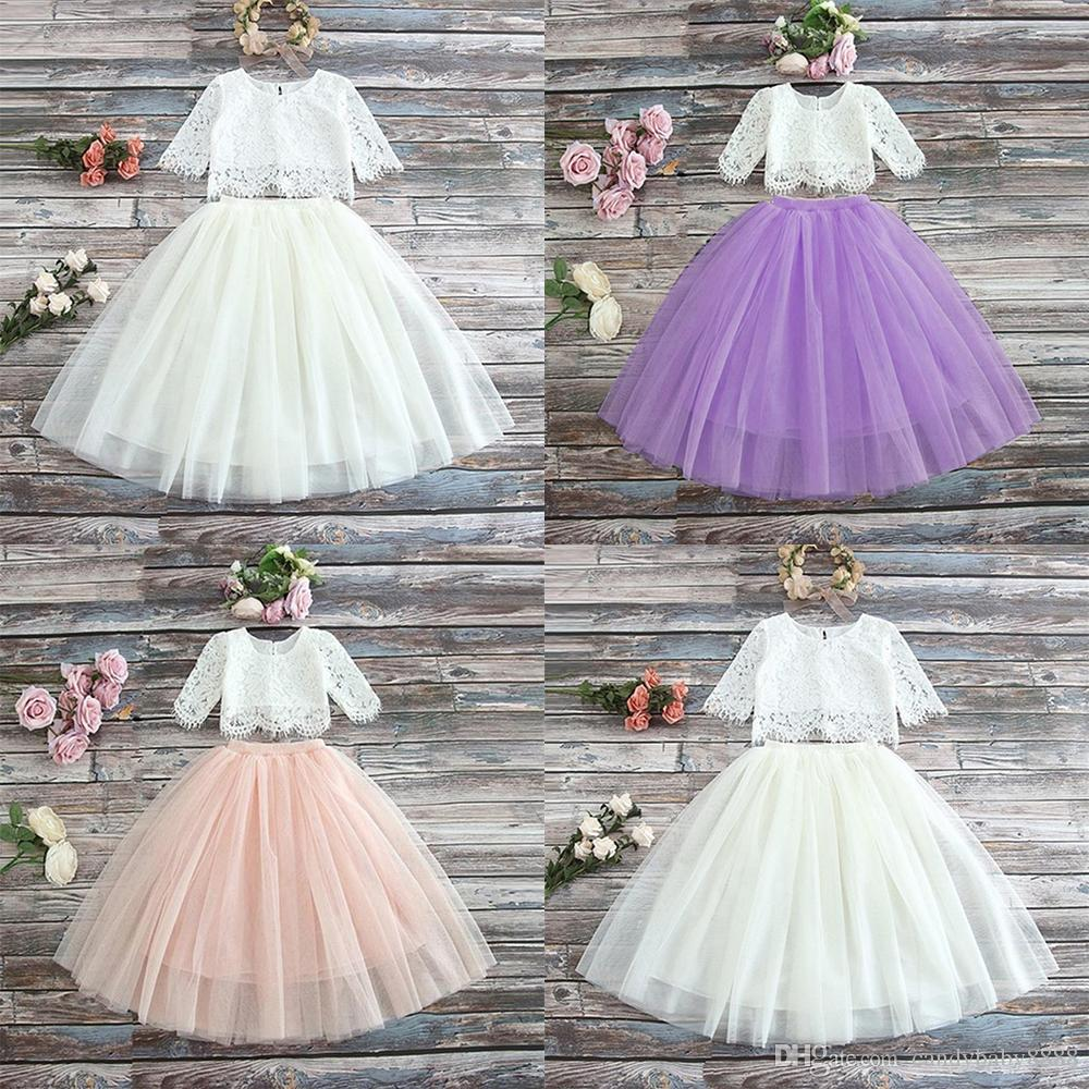 2pcs Kids Baby Girls Lace Tops+Skirt Dress Party Wedding Clothes Sets Outfits