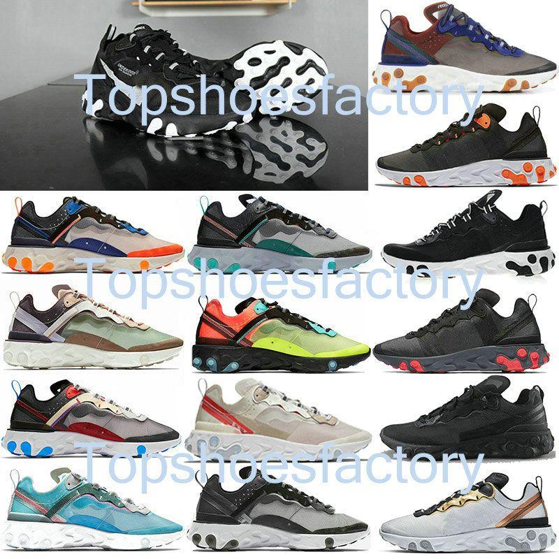 Nike air react element 87 55 Undercover 87 55 40 + الألوان ملحمة تتفاعل 87 55 الرجال السرية الاحذية للنساء مصمم الرجال احذية رياضية مدرب حذاء الشراع ضوء العظام الملكي